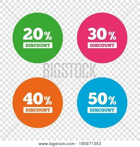 Sale discount icons. Special offer price signs. 20, 30, 40 and 50 percent off reduction symbols. Round buttons on transparent background. Vector