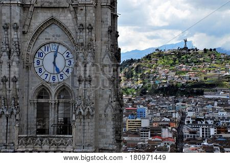 View of the  the old town of Quito from the Cathedral ( in focus ) Ecuador