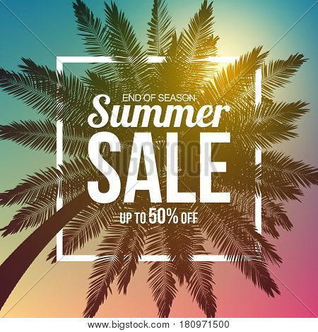 Big summer sale background with palm. Vector illustration Eps 10