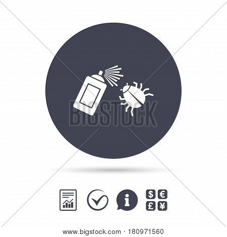 Bug disinfection sign icon. Fumigation symbol. Bug sprayer. Report document, information and check tick icons. Currency exchange. Vector poster