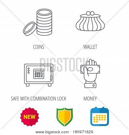 Give money, cash money and wallet icons. Safe box, coins linear signs. Shield protection, calendar and new tag web icons. Vector