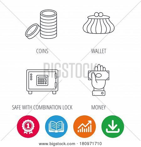 Give money, cash money and wallet icons. Safe box, coins linear signs. Award medal, growth chart and opened book web icons. Download arrow. Vector