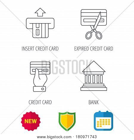 Bank credit card, expired card icons. Give credit card linear sign. Shield protection, calendar and new tag web icons. Vector