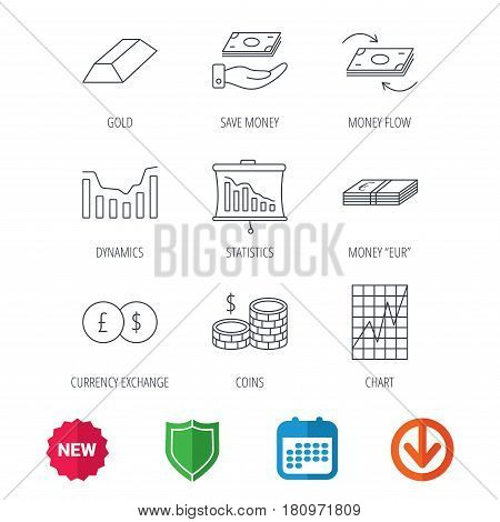 Banking, cash money and statistics icons. Money flow, gold bar and dollar usd linear signs. Dynamics chart, coins and savings icons. New tag, shield and calendar web icons. Download arrow. Vector