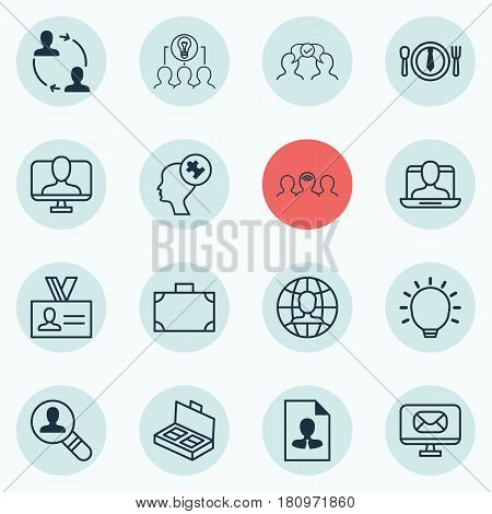 Set Of 16 Business Management Icons. Includes Great Glimpse, Cooperation, Human Mind And Other Symbols. Beautiful Design Elements.