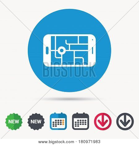 Gps street navigation icon. Smartphone device symbol. Pokemon egg concept. Calendar, download arrow and new tag signs. Colored flat web icons. Vector