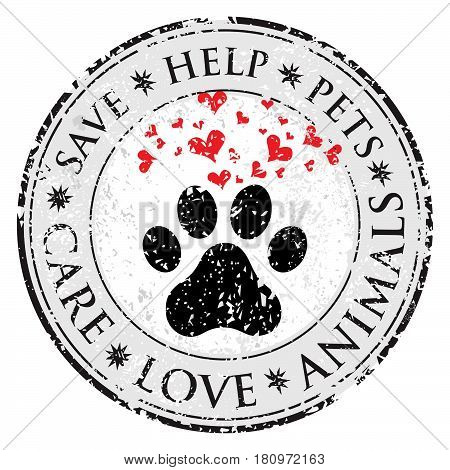 Dog paw heart love sign icon. Pets symbol textured web button. Vector Grunge post stamp. Circle banner or label. Protect your dog or cat symbol.