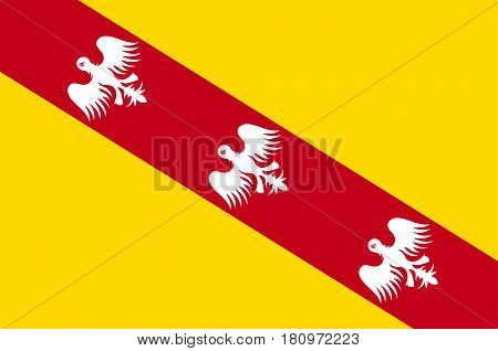 Flag of Lorraine is a cultural and historical region in north-eastern France now located in the administrative region of Grand Est. Vector illustration