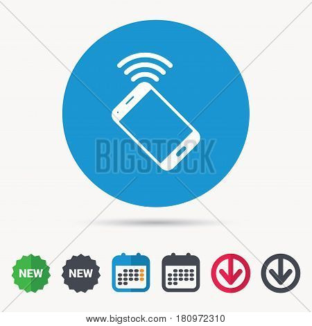 Cellphone icon. Mobile phone communication symbol. Calendar, download arrow and new tag signs. Colored flat web icons. Vector