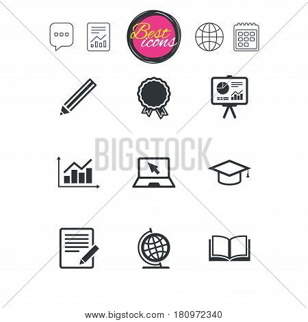 Chat speech bubble, report and calendar signs. Education and study icon. Presentation signs. Report, analysis and award medal symbols. Classic simple flat web icons. Vector