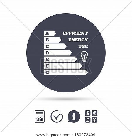 Energy efficiency icon. Electricity consumption symbol. Idea lamp sign. Report document, information and check tick icons. Currency exchange. Vector