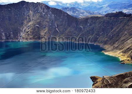 View of Quilotoa a water filled caldera  in Ecuador.