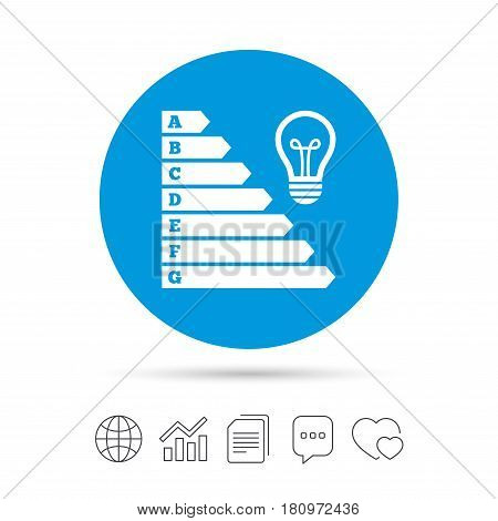 Energy efficiency icon. Electricity consumption symbol. Idea lamp sign. Copy files, chat speech bubble and chart web icons. Vector