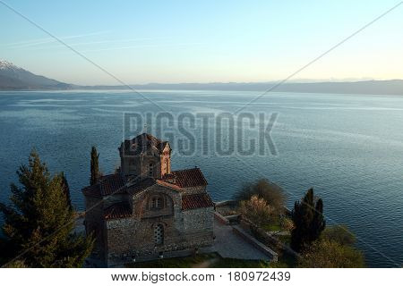 Saint Naum monastery at sunset over Ohrid lake in the southern part of the republic of Macedonia