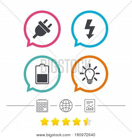 Electric plug icon. Light lamp and battery half symbols. Low electricity and idea signs. Calendar, internet globe and report linear icons. Star vote ranking. Vector