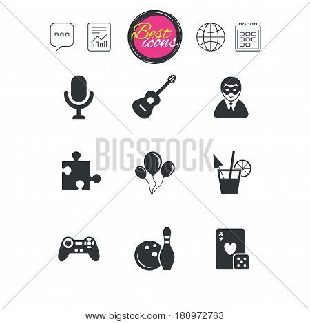 Chat speech bubble, report and calendar signs. Game, bowling and puzzle icons. Entertainment signs. Casino, carnival and alcohol cocktail symbols. Classic simple flat web icons. Vector