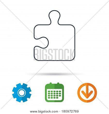 Puzzle icon. Jigsaw logical game sign. Boardgame piece symbol. Calendar, cogwheel and download arrow signs. Colored flat web icons. Vector