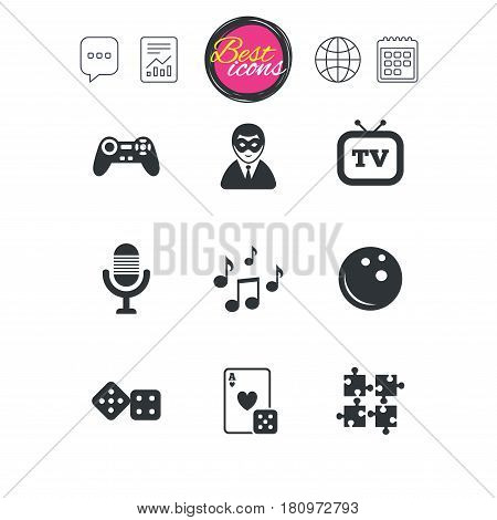 Chat speech bubble, report and calendar signs. Entertainment icons. Game, bowling and puzzle signs. Casino, carnival and musical note symbols. Classic simple flat web icons. Vector