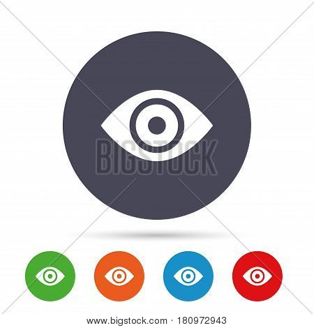 Eye sign icon. Publish content button. Visibility. Round colourful buttons with flat icons. Vector