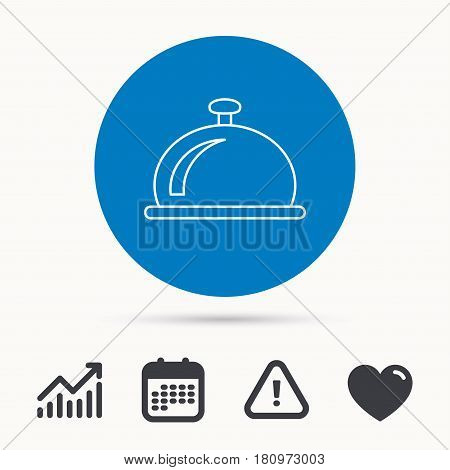 Reception bell icon. Hotel service sign. Calendar, attention sign and growth chart. Button with web icon. Vector