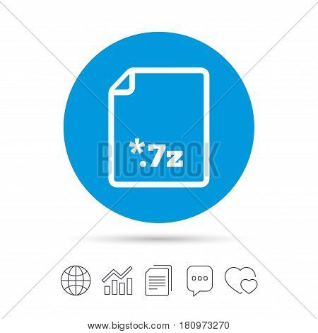 Archive file icon. Download compressed file button. 7z zipped file extension symbol. Copy files, chat speech bubble and chart web icons. Vector