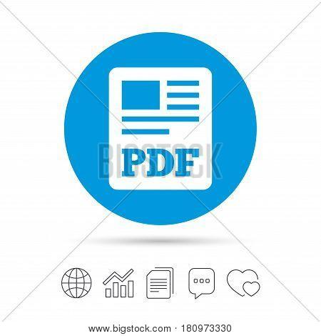 PDF file document icon. Download pdf button. PDF file symbol. Copy files, chat speech bubble and chart web icons. Vector