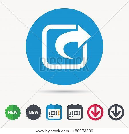 Share icon. Send social media information symbol. Calendar, download arrow and new tag signs. Colored flat web icons. Vector