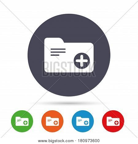 Add document folder sign. Accounting binder symbol. Bookkeeping management. Round colourful buttons with flat icons. Vector