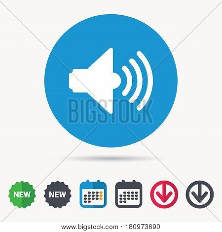 Sound icon. Music dynamic symbol. Calendar, download arrow and new tag signs. Colored flat web icons. Vector