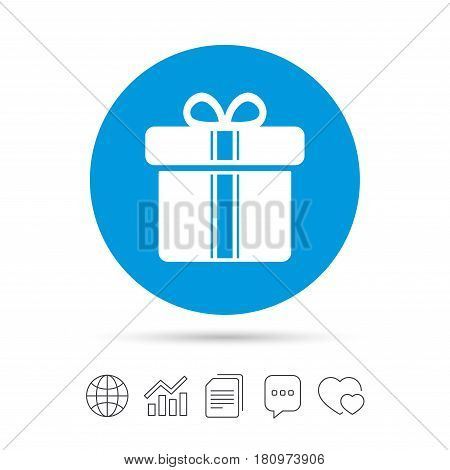 Gift box sign icon. Present with ribbons symbol. Copy files, chat speech bubble and chart web icons. Vector