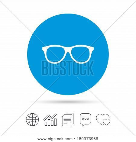 Retro glasses sign icon. Eyeglass frame symbol. Copy files, chat speech bubble and chart web icons. Vector