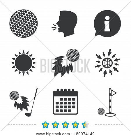 Golf ball icons. Fireball with club sign. Luxury sport symbol. Information, go to web and calendar icons. Sun and loud speak symbol. Vector