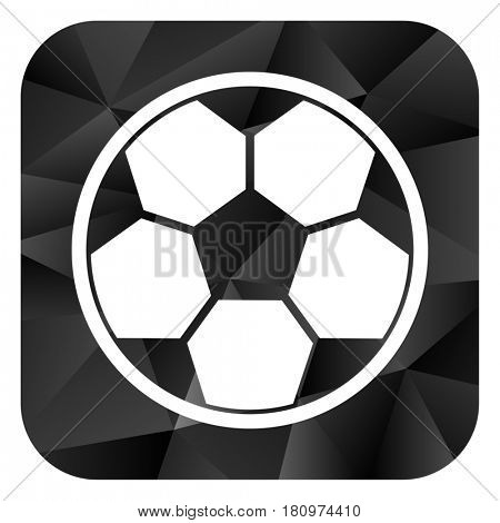 Soccer black color web modern brillant design square internet icon on white background.