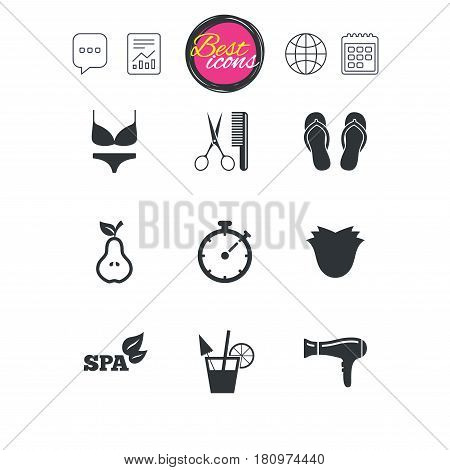 Chat speech bubble, report and calendar signs. Hairdresser, spa icons. Diet cocktail sign. Lingerie, scissors and hairdryer symbols. Classic simple flat web icons. Vector
