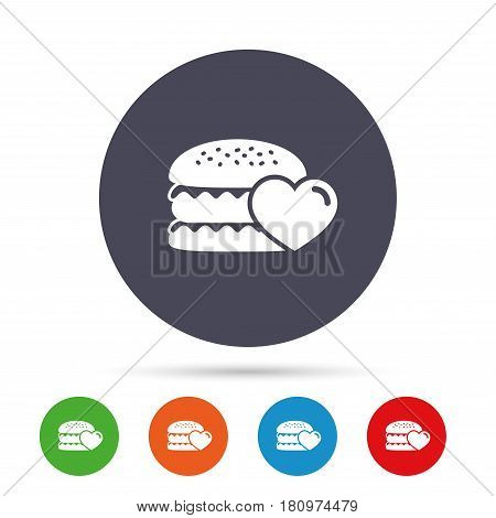 Hamburger icon. Burger food symbol. Cheeseburger sandwich sign. Round colourful buttons with flat icons. Vector