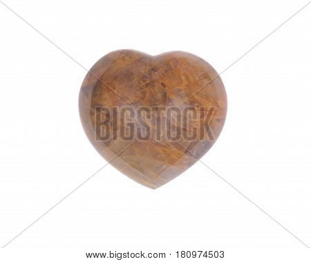 Golden healer quartz heart isolated on white background