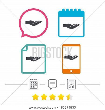 Donation hand sign icon. Charity or endowment symbol. Human helping hand palm. Calendar, chat speech bubble and report linear icons. Star vote ranking. Vector