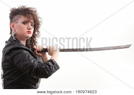 Piercing Woman Curly Girl And Sword
