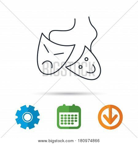 Theater masks icon. Drama and comedy sign. Masquerade or carnival symbol. Calendar, cogwheel and download arrow signs. Colored flat web icons. Vector