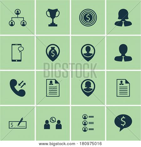 Set Of 16 Management Icons. Includes Cellular Data, Pin Employee, Business Deal And Other Symbols. Beautiful Design Elements.