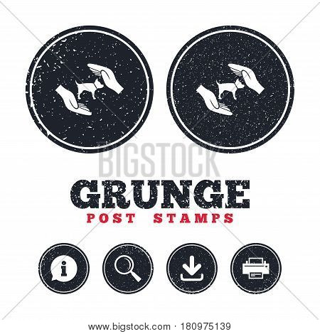 Grunge post stamps. Protection of animals pets sign icon. Hands protect dog symbol. Shelter for dogs. Animals insurance. Information, download and printer signs. Aged texture web buttons. Vector