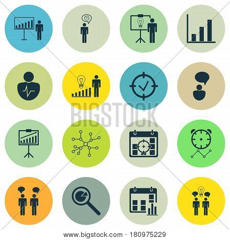 Set Of 16 Administration Icons. Includes Approved Target, Decision Making, Bar Chart And Other Symbols. Beautiful Design Elements.