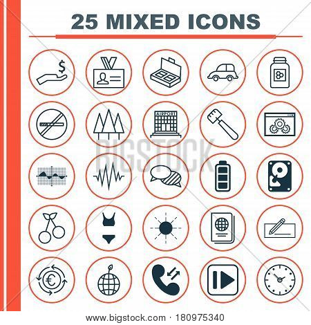 Set Of 25 Universal Editable Icons. Can Be Used For Web, Mobile And App Design. Includes Elements Such As Forest, Web Page Performance, Identification Document And More.