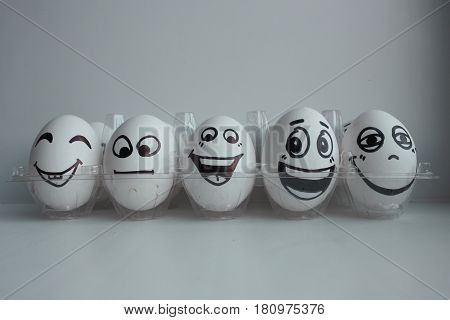 Easter Eggs In White Group In A Transparent