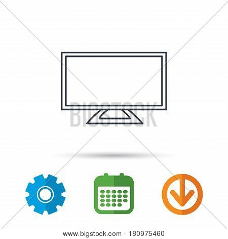 Lcd tv icon. Led monitor sign. Widescreen display symbol. Calendar, cogwheel and download arrow signs. Colored flat web icons. Vector
