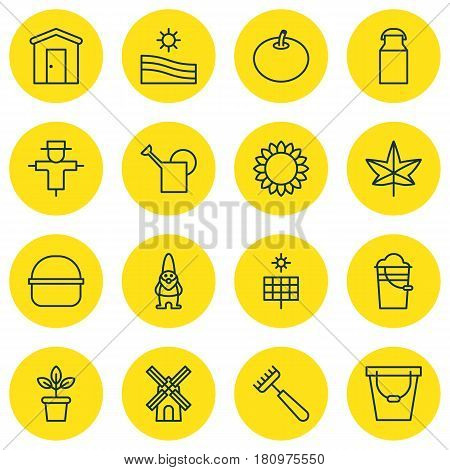 Set Of 16 Garden Icons. Includes Package, Jug, Flowerpot And Other Symbols. Beautiful Design Elements.