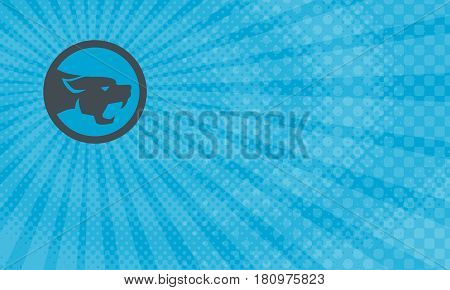 Business card showing Illustration of black panther cat head growling viewed from the side set inside circle done in retro style.