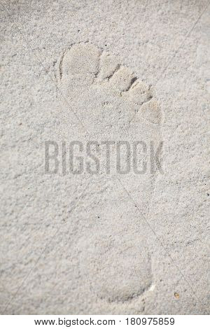 footsteps in sandy on the beach nobody