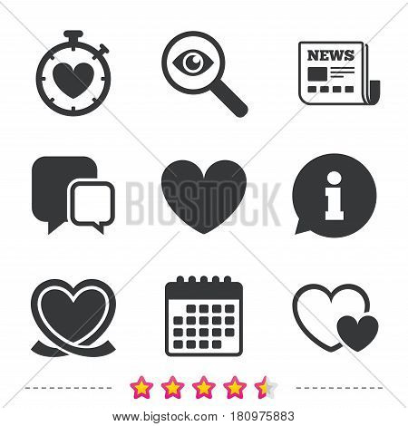 Heart ribbon icon. Timer stopwatch symbol. Love and Heartbeat palpitation signs. Newspaper, information and calendar icons. Investigate magnifier, chat symbol. Vector