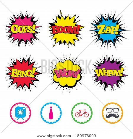 Comic Wow, Oops, Boom and Wham sound effects. Hipster photo camera with mustache icon. Glasses and tie symbols. Bicycle family vehicle sign. Zap speech bubbles in pop art. Vector